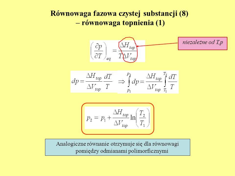 Równowaga fazowa czystej substancji (8) – równowaga topnienia (1) Analogiczne równanie otrzymuje się dla równowagi pomiędzy odmianami polimorficznymi