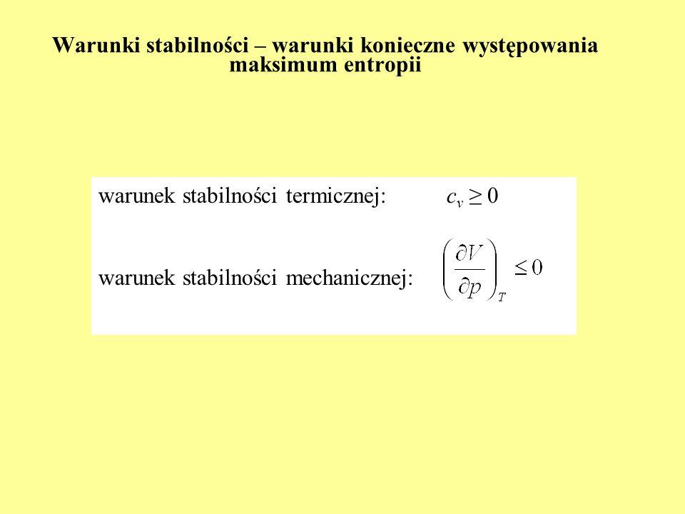 Konsekwencje I i II Zasady (6) Zastosowanie do opisu procesu Joulea-Thomsona (2) dodatni efekt Joulea-Thomsona – oziębianie gazu ujemny efekt Joulea-Thomsona – ogrzewanie gazu