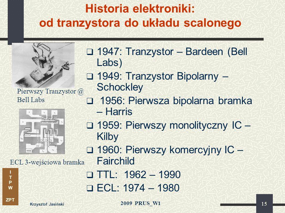 I T P W ZPT 2009 PRUS_W1 Krzysztof Jasiński 14 ENIAC - pierwszy komputer elektroniczny (1946)