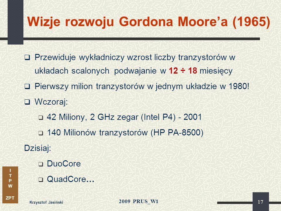 I T P W ZPT 2009 PRUS_W1 Krzysztof Jasiński 16 Ewolucja układów scalonych: nowe technologie 1925, 1935: MOSFET Tranzystor – Lilenfeld (Canada) & Heil