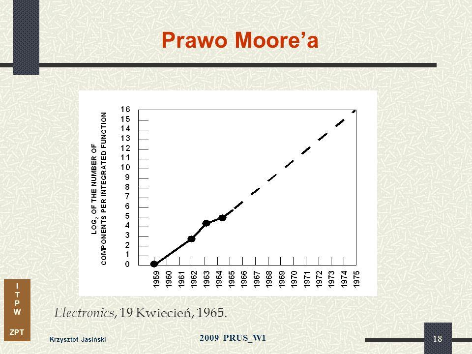 I T P W ZPT 2009 PRUS_W1 Krzysztof Jasiński 17 Wizje rozwoju Gordona Moorea (1965) Przewiduje wykładniczy wzrost liczby tranzystorów w układach scalon
