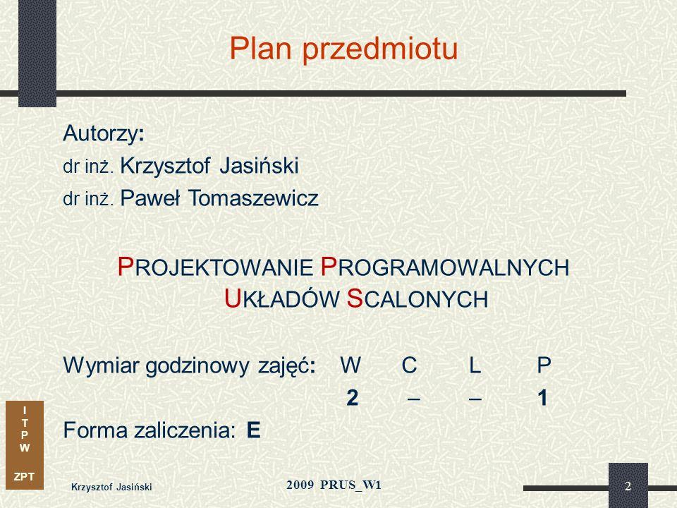 I T P W ZPT 2009 PRUS_W1 Krzysztof Jasiński 32 Modele i zadania syntezy – poziomy abstrakcji Modele behawioralne – opis funkcji Modele strukturalne - architektury Projektowanie fizyczne Synteza logiczna Poziom architektury Modele fizyczne Poziom logiczny Poziom geometrii Synteza architektury