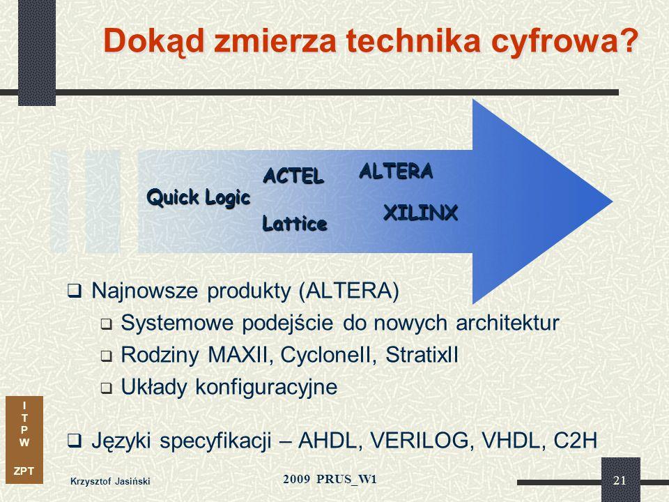 I T P W ZPT 2009 PRUS_W1 Krzysztof Jasiński 20 0.10 0.12 0.14 0.16 0.18 0.20 1999200020012002200320042005 Szerokość bramki ( m) Postępy w technologii