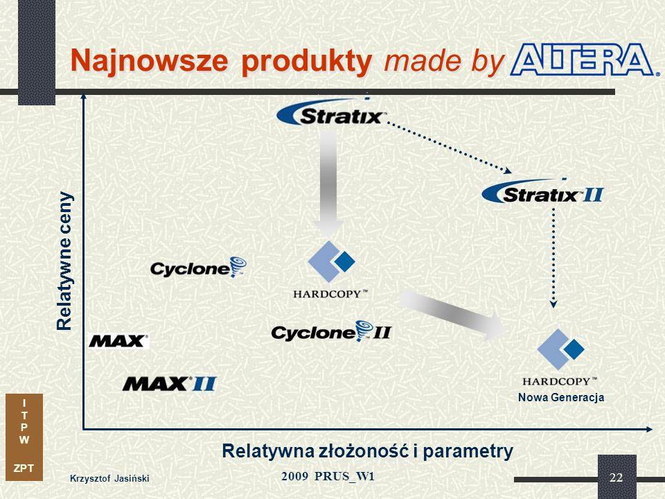 I T P W ZPT 2009 PRUS_W1 Krzysztof Jasiński 21 Dokąd zmierza technika cyfrowa? Najnowsze produkty (ALTERA) Systemowe podejście do nowych architektur R