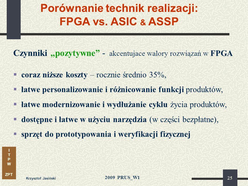 I T P W ZPT 2009 PRUS_W1 Krzysztof Jasiński 24 Porównanie technik realizacji: FPGA vs. ASIC & ASSP Czynniki negatywne - osłabiające znaczenie ASIC & A