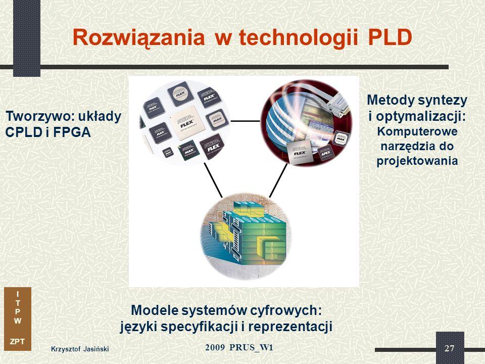 I T P W ZPT 2009 PRUS_W1 Krzysztof Jasiński 26 Automatyka przemysłowa, robotyka Telekomunikacja Medycyna Kartografia Sieci radiowe Wojsko TECHNIKA PLD