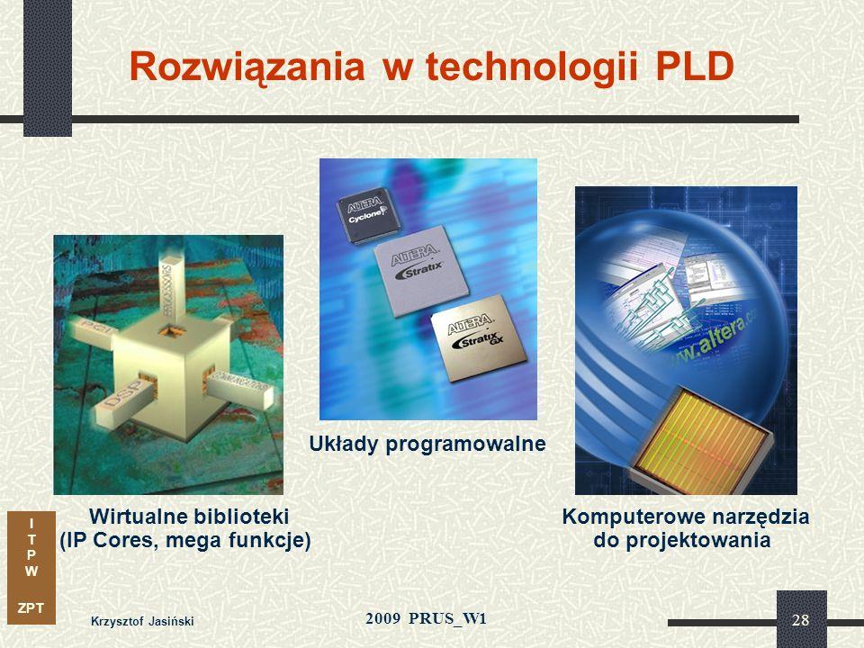 I T P W ZPT 2009 PRUS_W1 Krzysztof Jasiński 27 Rozwiązania w technologii PLD Metody syntezy i optymalizacji: Komputerowe narzędzia do projektowania Tw