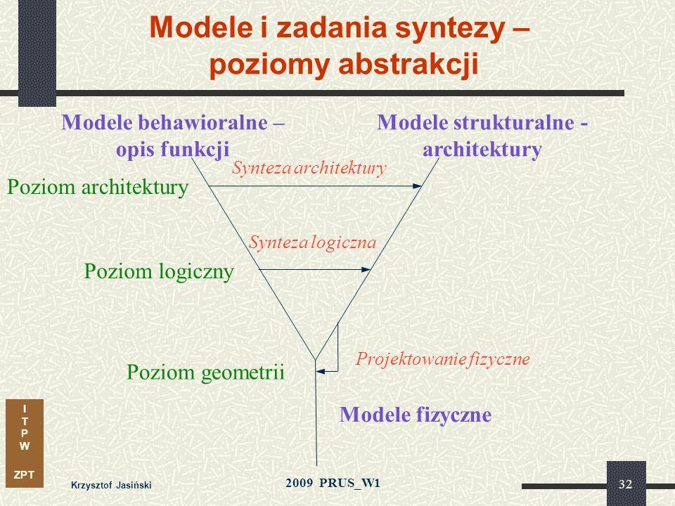 I T P W ZPT 2009 PRUS_W1 Krzysztof Jasiński 31 Proces projektowania Produkcja Specyfikacja projektu Kompilacja projektu Symulacja funkcjonalna Weryfik