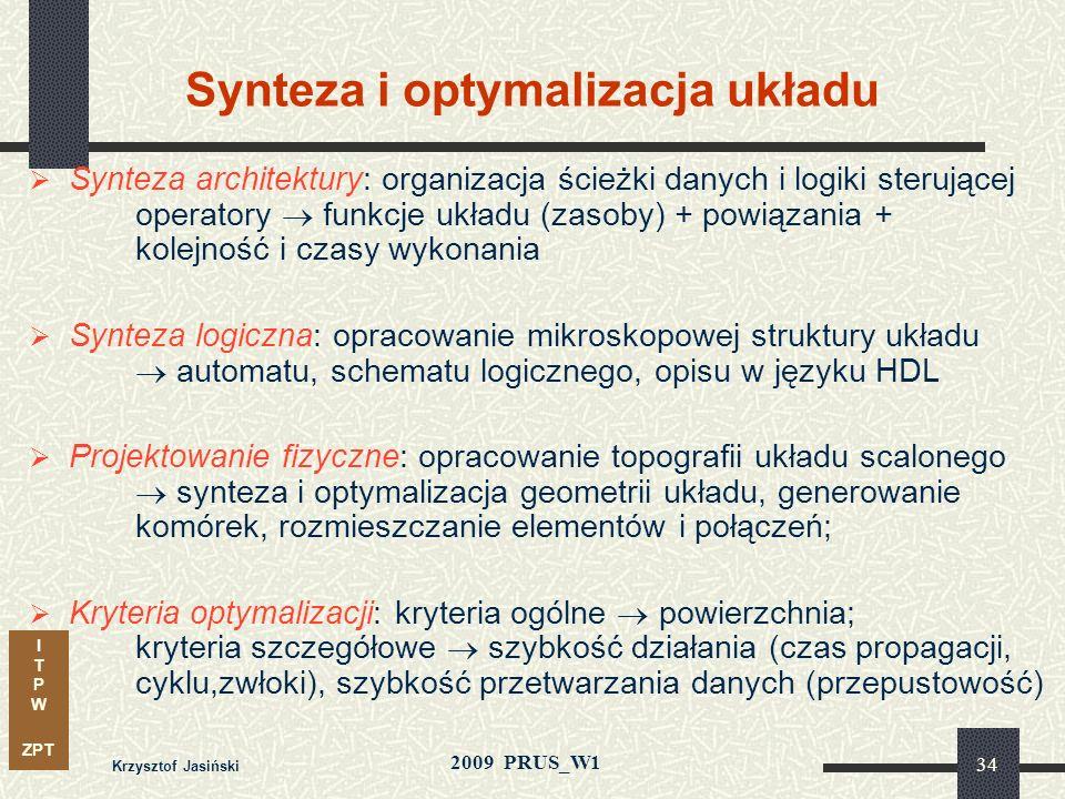I T P W ZPT 2009 PRUS_W1 Krzysztof Jasiński 33 Poziomy reprezentacji układu Poziom architektury – operacje np. obliczenia, transfer danych: języki opi