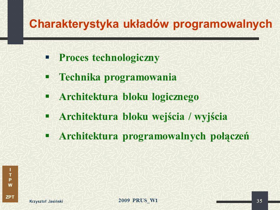I T P W ZPT 2009 PRUS_W1 Krzysztof Jasiński 34 Synteza i optymalizacja układu Synteza architektury: organizacja ścieżki danych i logiki sterującej ope