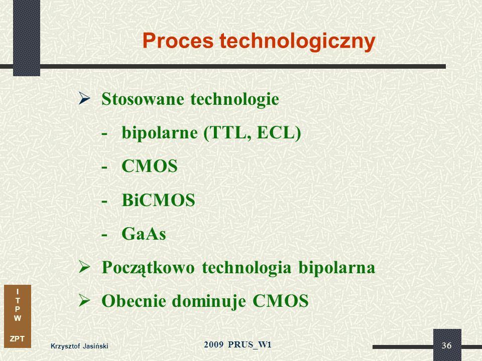 I T P W ZPT 2009 PRUS_W1 Krzysztof Jasiński 35 Charakterystyka układów programowalnych Proces technologiczny Technika programowania Architektura bloku