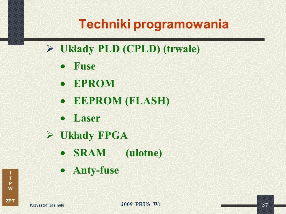 I T P W ZPT 2009 PRUS_W1 Krzysztof Jasiński 36 Proces technologiczny Stosowane technologie - bipolarne (TTL, ECL) - CMOS - BiCMOS - GaAs Początkowo te