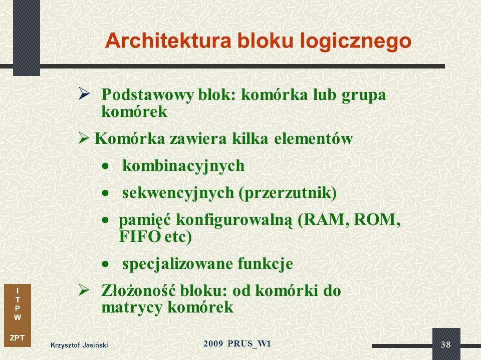 I T P W ZPT 2009 PRUS_W1 Krzysztof Jasiński 37 Techniki programowania Układy PLD (CPLD) (trwałe) Fuse EPROM EEPROM (FLASH) Laser Układy FPGA SRAM (ulo