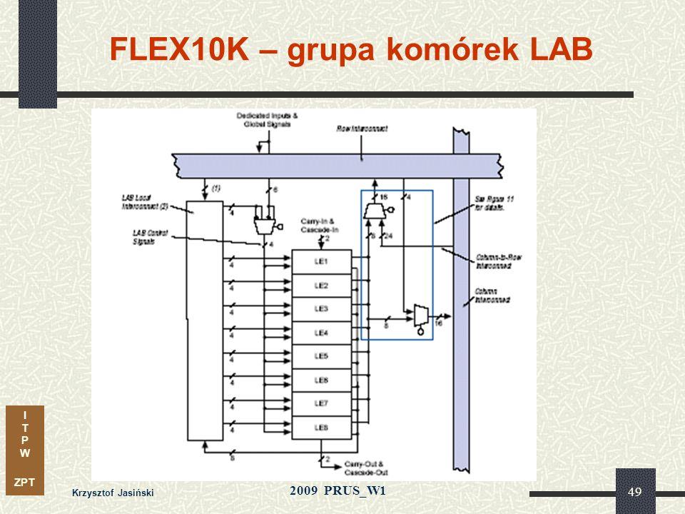 I T P W ZPT 2009 PRUS_W1 Krzysztof Jasiński 48 FLEX 10K – architektura połączeń kanał wierszowykanał kolumnowy LAB Architektura matrycowa (MAX 3000-70