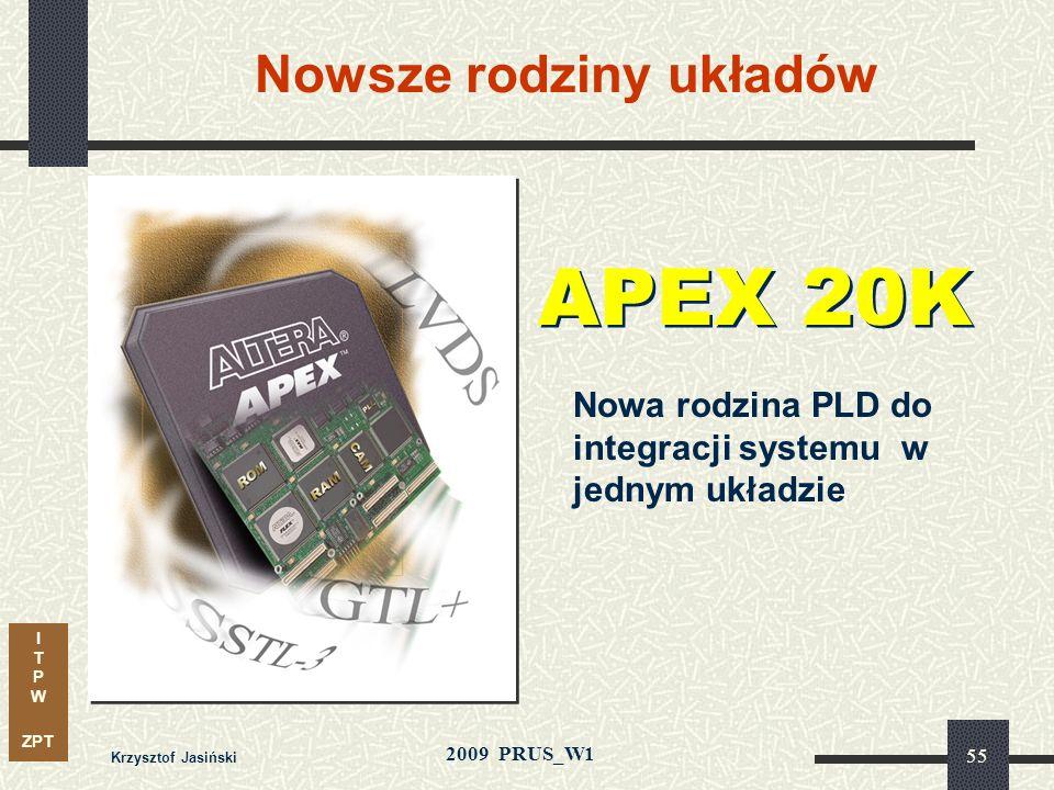 I T P W ZPT 2009 PRUS_W1 Krzysztof Jasiński 54 ASIC = koszt układu + koszt opracowania + koszty ukryte FPGA minimalizuje koszty: Brak kosztów NRE Brak