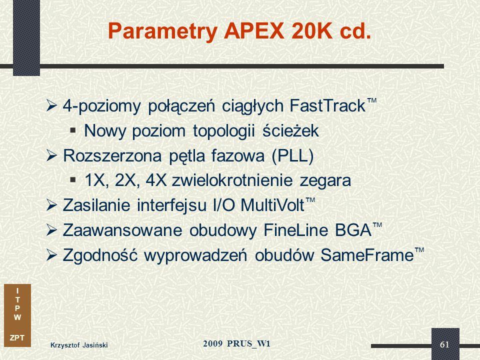 I T P W ZPT 2009 PRUS_W1 Krzysztof Jasiński 60 MegaBLOK w architekturze APEX 20K Blok Wbudowa- nych funkcji (ESB) LAB16LAB1LAB2 LE Element Logiczny (L