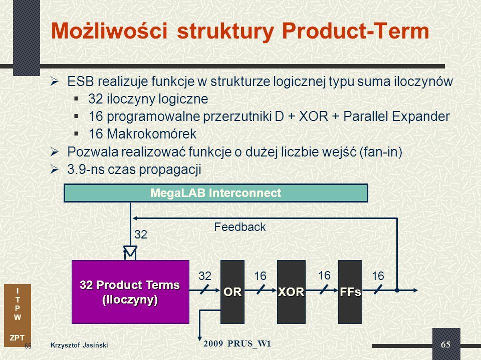 I T P W ZPT 2009 PRUS_W1 Krzysztof Jasiński 64 Blok wbudowanych funkcji Rozbudowana struktura wbudowanych funkcji zoptymalizowana w celu integracji sy
