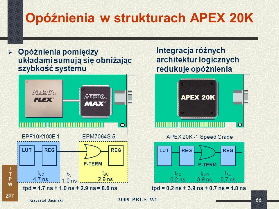 I T P W ZPT 2009 PRUS_W1 Krzysztof Jasiński 65 Możliwości struktury Product-Term ESB realizuje funkcje w strukturze logicznej typu suma iloczynów 32 i