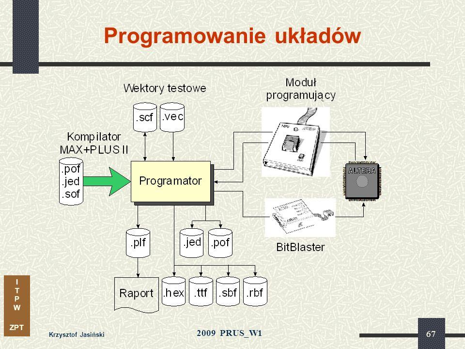 I T P W ZPT 2009 PRUS_W1 Krzysztof Jasiński 66 Opóźnienia pomiędzy układami sumują się obniżając szybkość systemu Opóźnienia w strukturach APEX 20K t