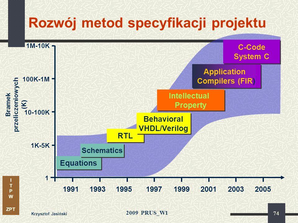 I T P W ZPT 2009 PRUS_W1 Krzysztof Jasiński 73 Ewolucja narzędzi do projektowania Czwarta generacja narzędzi projektowych dla układów PLD A+PLUS MAX+P