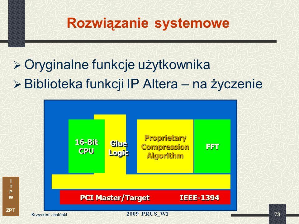 I T P W ZPT 2009 PRUS_W1 Krzysztof Jasiński 77 Nowa strategia integracji - Megafunkcje Dwa uzupełniające się źródła zoptymalizowanych megafunkcji Ofer