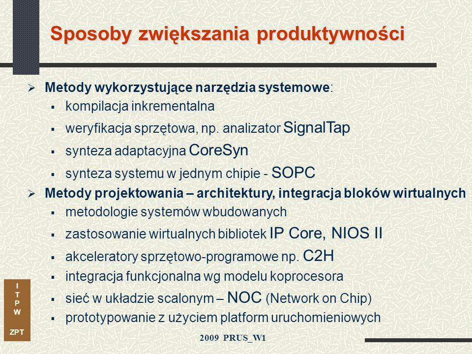 I T P W ZPT 2009 PRUS_W1 Problemy i wyzwania w projektowaniu systemów w technice FPGA Luka Produktywności Prawo Moorea Produktywność Projektowa Projek