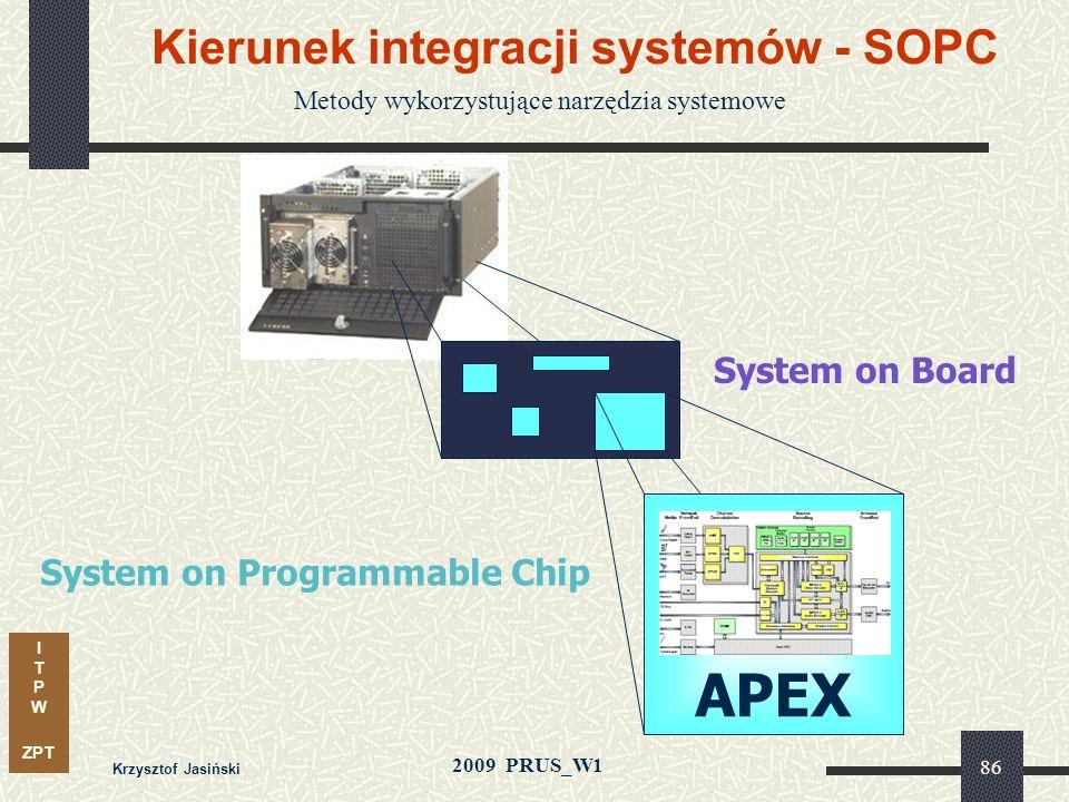 I T P W ZPT 2009 PRUS_W1 Krzysztof Jasiński 85 Adaptacyjne metody syntezy Strategia syntezy algorytmu CoreSyn wybiera rdzeń architektury właściwy dla