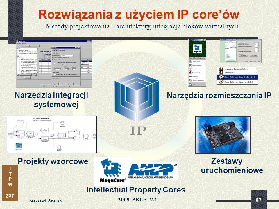 I T P W ZPT 2009 PRUS_W1 Krzysztof Jasiński 86 Kierunek integracji systemów - SOPC APEX System on Programmable Chip System on Board Metody wykorzystuj