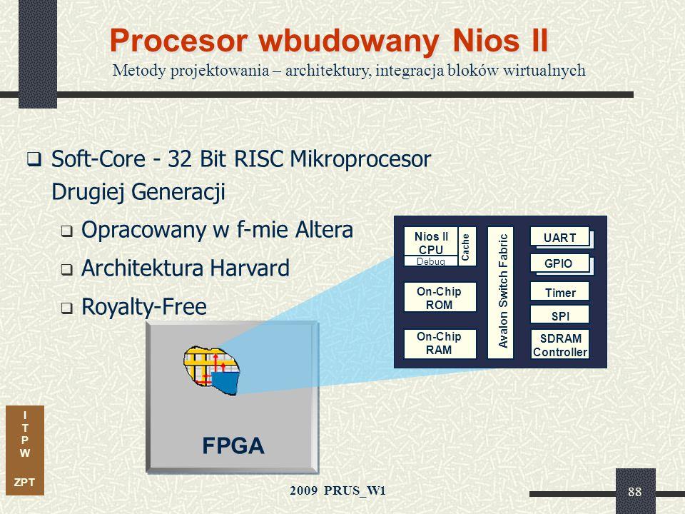 I T P W ZPT 2009 PRUS_W1 Krzysztof Jasiński 87 Rozwiązania z użyciem IP coreów Zestawy uruchomieniowe Projekty wzorcowe Narzędzia rozmieszczania IP In