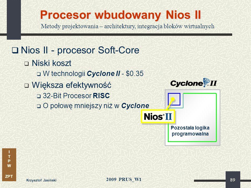I T P W ZPT 2009 PRUS_W1 88 Procesor wbudowany Nios II Metody projektowania – architektury, integracja bloków wirtualnych Soft-Core - 32 Bit RISC Mikr
