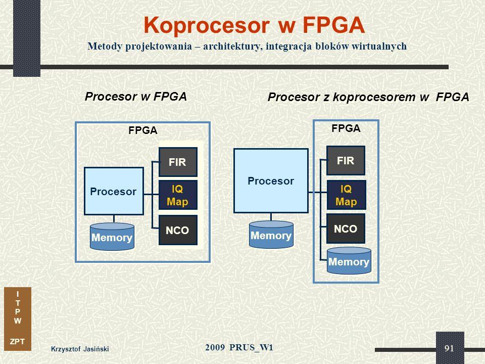 I T P W ZPT 2009 PRUS_W1 Krzysztof Jasiński 90 Kompilator C2H Generowanie specjalizowanego układu akceleratora z opisu funkcji w języku ANSI C Pamięć