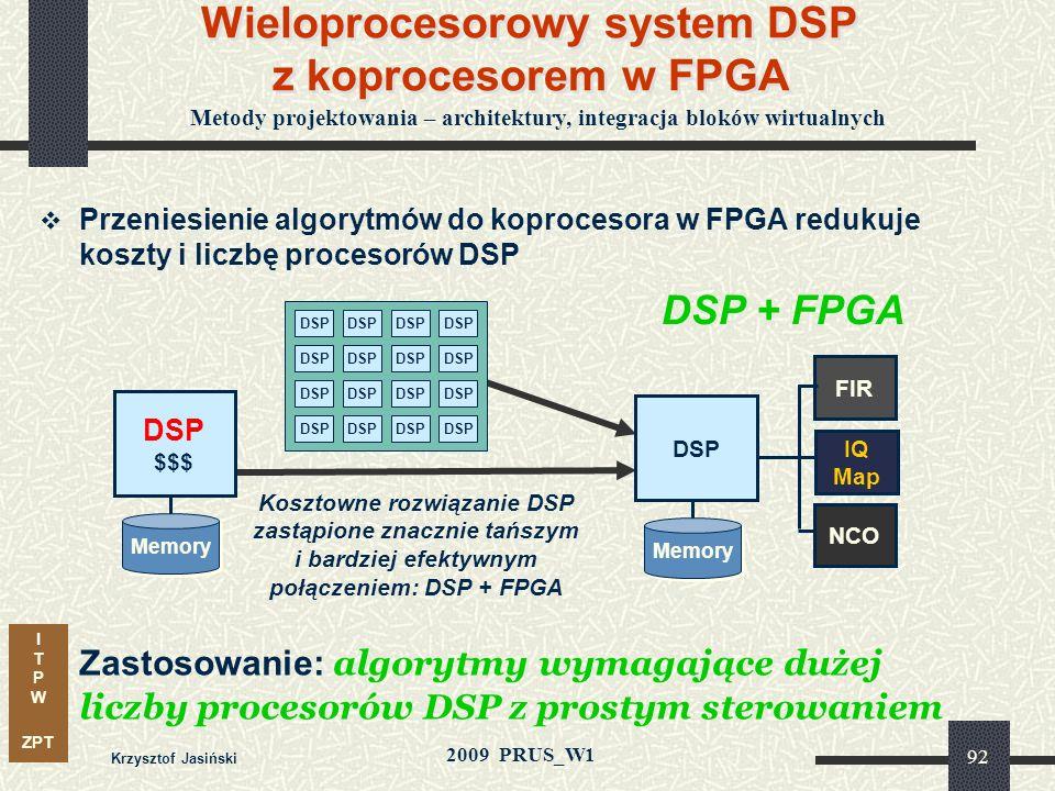 I T P W ZPT 2009 PRUS_W1 Krzysztof Jasiński 91 Koprocesor w FPGA FIR Procesor z koprocesorem w FPGA Procesor w FPGA FPGA Memory NCO FPGA IQ Map NCO IQ