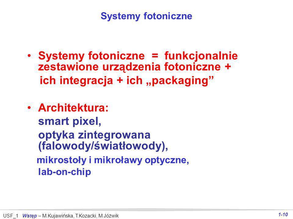 USF_1 Wstęp – M.Kujawińska, T.Kozacki, M.Jóżwik 1-9 Urządzenia fotoniczne Części składowe systemów fotonicznych obejmujące: źródła promieniowania (wra