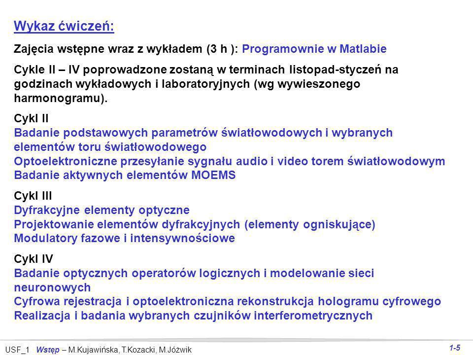 USF_1 Wstęp – M.Kujawińska, T.Kozacki, M.Jóżwik 1-5 Wykaz ćwiczeń: Zajęcia wstępne wraz z wykładem (3 h ): Programownie w Matlabie Cykle II – IV poprowadzone zostaną w terminach listopad-styczeń na godzinach wykładowych i laboratoryjnych (wg wywieszonego harmonogramu).