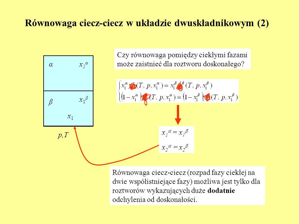 Molekularna interpretacja odchyleń od doskonałości |ε AA ||ε BB | |ε AB | |ε BB ||ε AB | |ε AA | |ε BB | roztwór doskonały odchylenia + odchylenia - |ε AB | ~ 1/2(|ε AA |+ |ε BB |) Równowaga ciecz-ciecz (rozpad fazy ciekłej na dwie współistniejące fazy) możliwa jest tylko dla roztworów wykazujących duże dodatnie odchylenia od doskonałości.