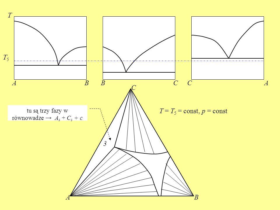ABBCCA T AB C T5T5 T = T 5 = const, p = const 3 tu są trzy fazy w równowadze A s + C s + c