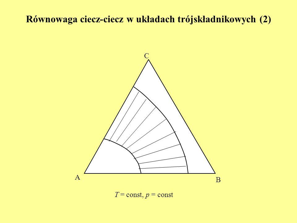 C A B T = const, p = const Równowaga ciecz-ciecz w układach trójskładnikowych (2)
