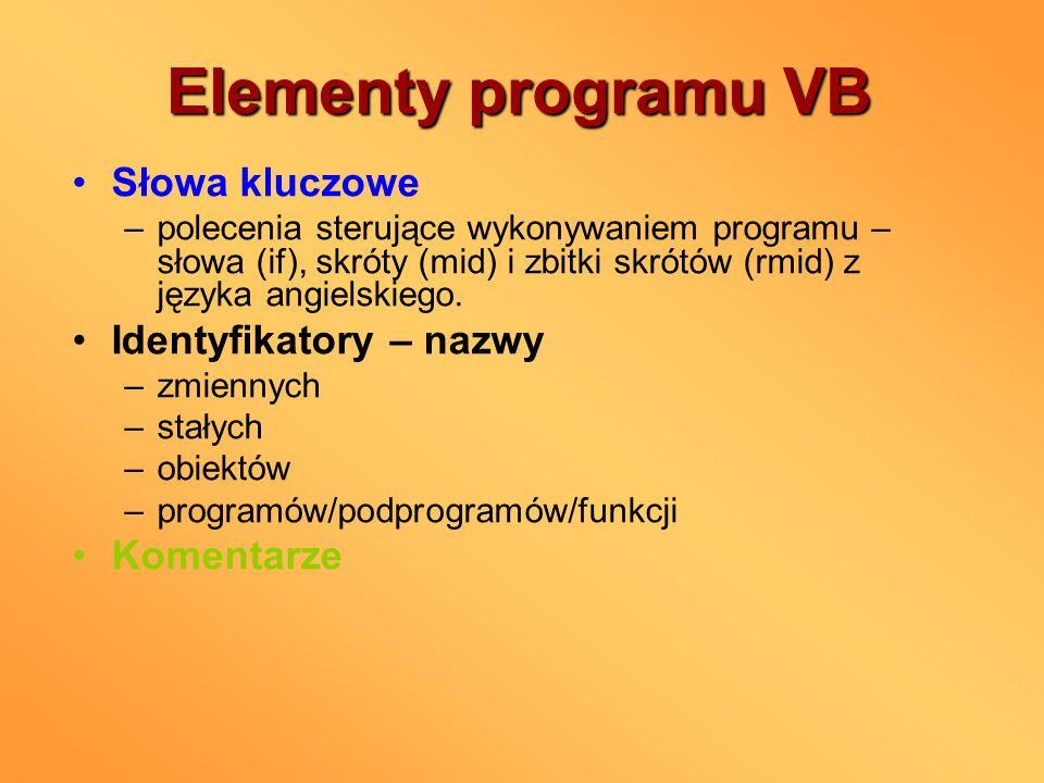 Elementy programu VB Słowa kluczowe –polecenia sterujące wykonywaniem programu – słowa (if), skróty (mid) i zbitki skrótów (rmid) z języka angielskieg