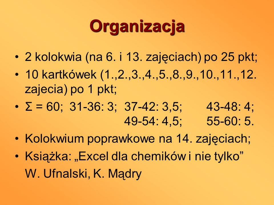 Organizacja 2 kolokwia (na 6. i 13. zajęciach) po 25 pkt; 10 kartkówek (1.,2.,3.,4.,5.,8.,9.,10.,11.,12. zajecia) po 1 pkt; Σ = 60;31-36: 3;37-42: 3,5