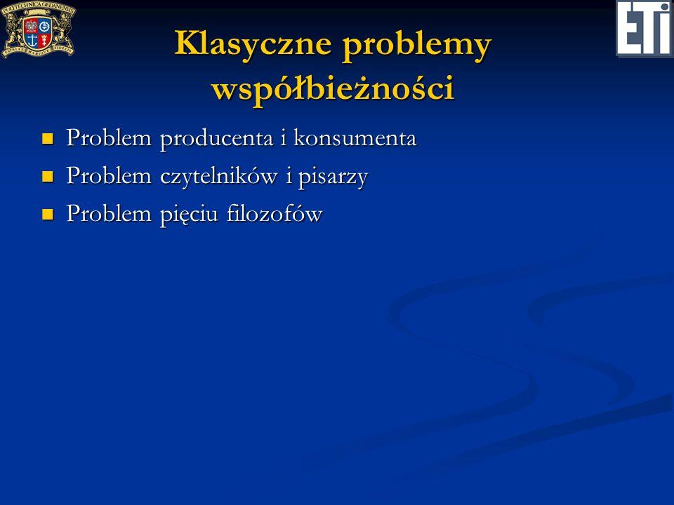 Klasyczne problemy współbieżności Problem producenta i konsumenta Problem producenta i konsumenta Problem czytelników i pisarzy Problem czytelników i