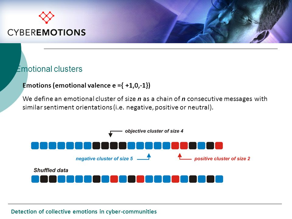Emotions (emotional valence e ={ +1,0,-1}) We define an emotional cluster of size n as a chain of n consecutive messages with similar sentiment orient