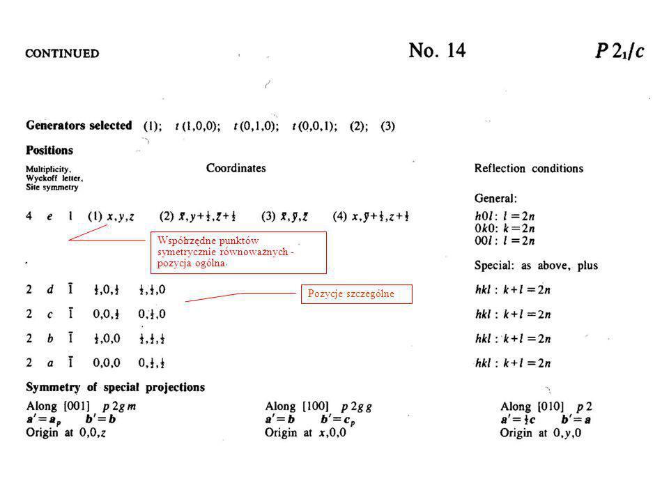 Współrzędne punktów symetrycznie równoważnych - pozycja ogólna Pozycje szczególne