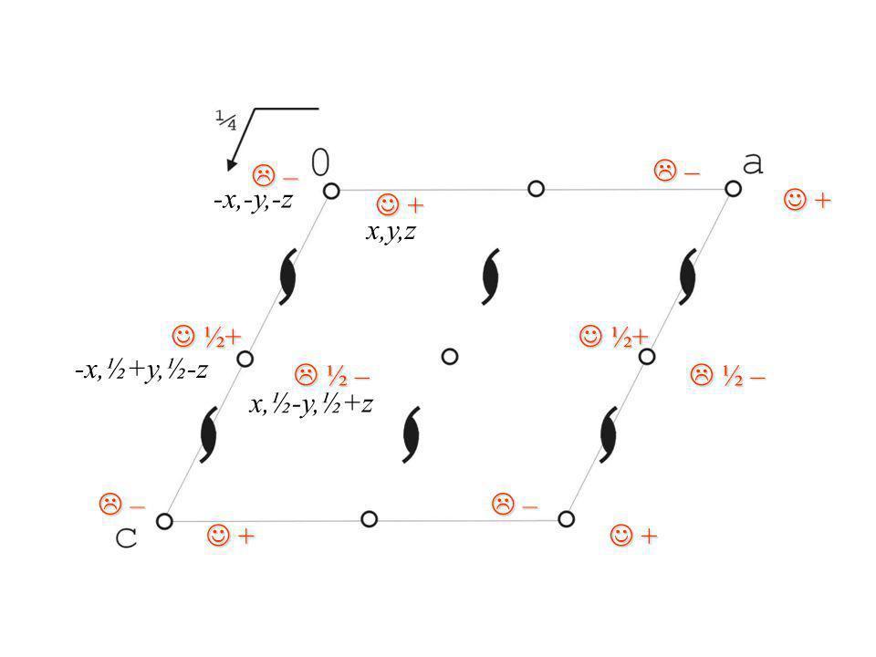 + + ½ – ½ – – – ½+ ½+ – – ½+ ½+ + + – – ½ – ½ – + + – – + + x,y,z -x,-y,-z x,½-y,½+z -x,½+y,½-z