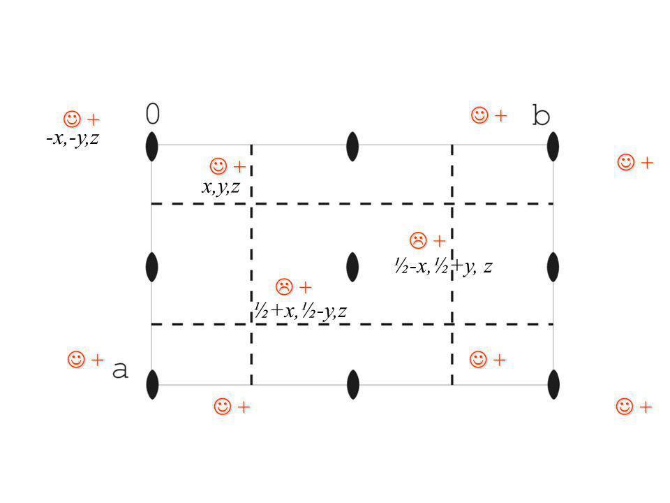 + + x,y,z + + -x,-y,z + + ½+x,½-y,z ½-x,½+y, z
