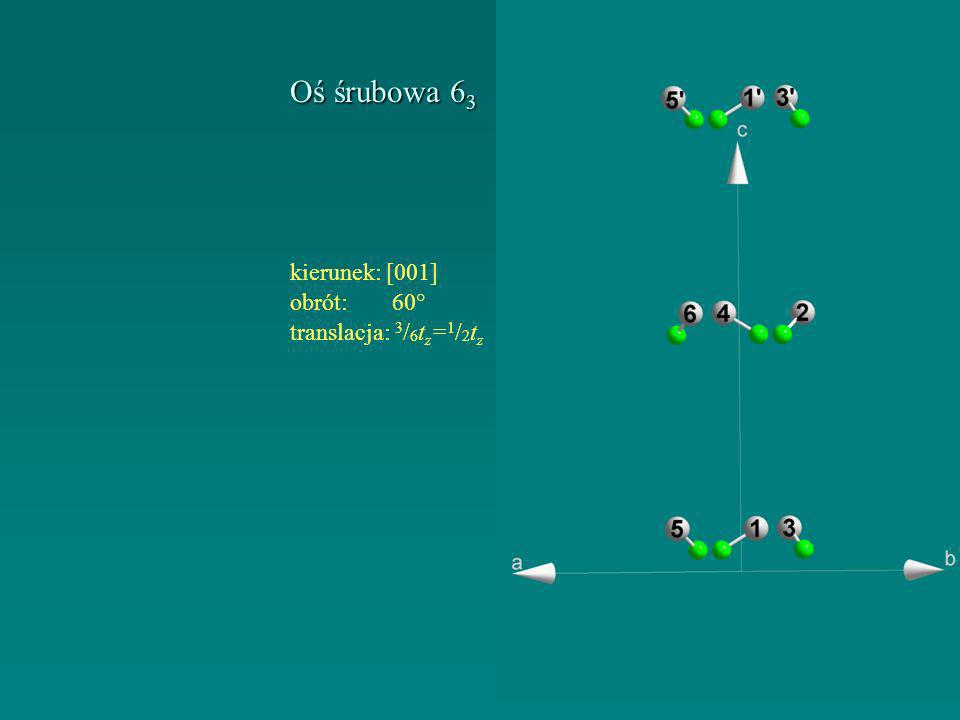 Oś śrubowa 6 3 kierunek:[001] obrót: 60° translacja: 3 / 6 t z = 1 / 2 t z