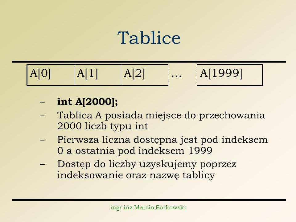 mgr inż.Marcin Borkowski Tablice – int A[2000]; –Tablica A posiada miejsce do przechowania 2000 liczb typu int –Pierwsza liczna dostępna jest pod indeksem 0 a ostatnia pod indeksem 1999 –Dostęp do liczby uzyskujemy poprzez indeksowanie oraz nazwę tablicy A[1999]...A[2]A[1]A[0]