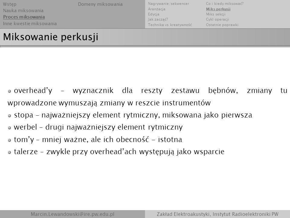 Marcin.Lewandowski@ire.pw.edu.plZakład Elektroakustyki, Instytut Radioelektroniki PW Miksowanie perkusji overheady – wyznacznik dla reszty zestawu bęb