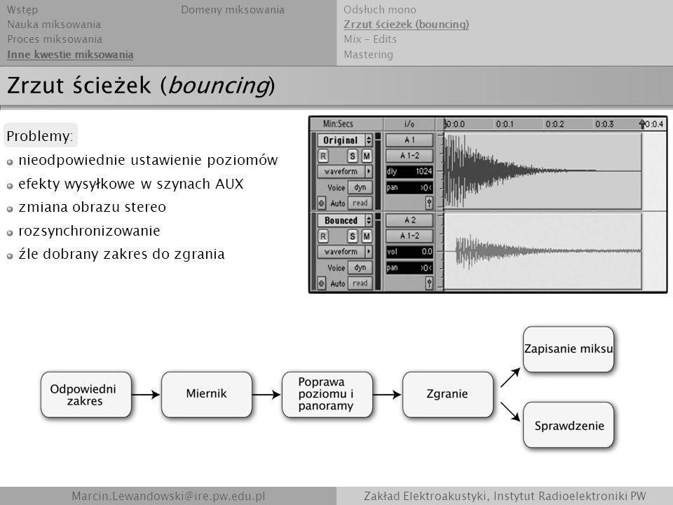 Marcin.Lewandowski@ire.pw.edu.plZakład Elektroakustyki, Instytut Radioelektroniki PW Zrzut ścieżek (bouncing) Problemy: nieodpowiednie ustawienie pozi