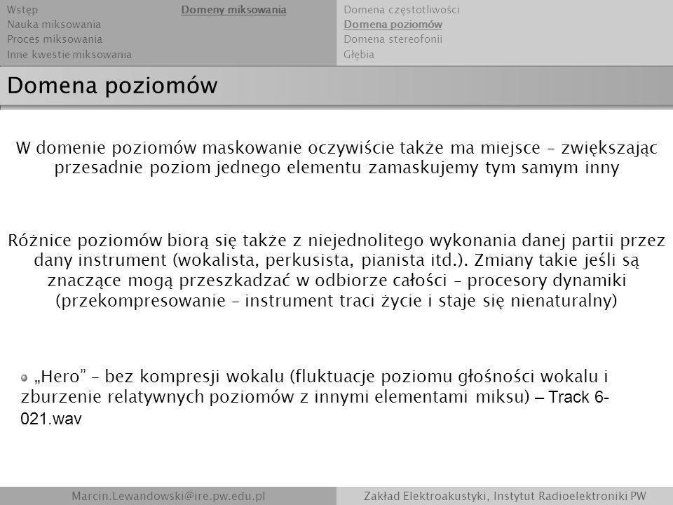Marcin.Lewandowski@ire.pw.edu.plZakład Elektroakustyki, Instytut Radioelektroniki PW Domena poziomów W domenie poziomów maskowanie oczywiście także ma