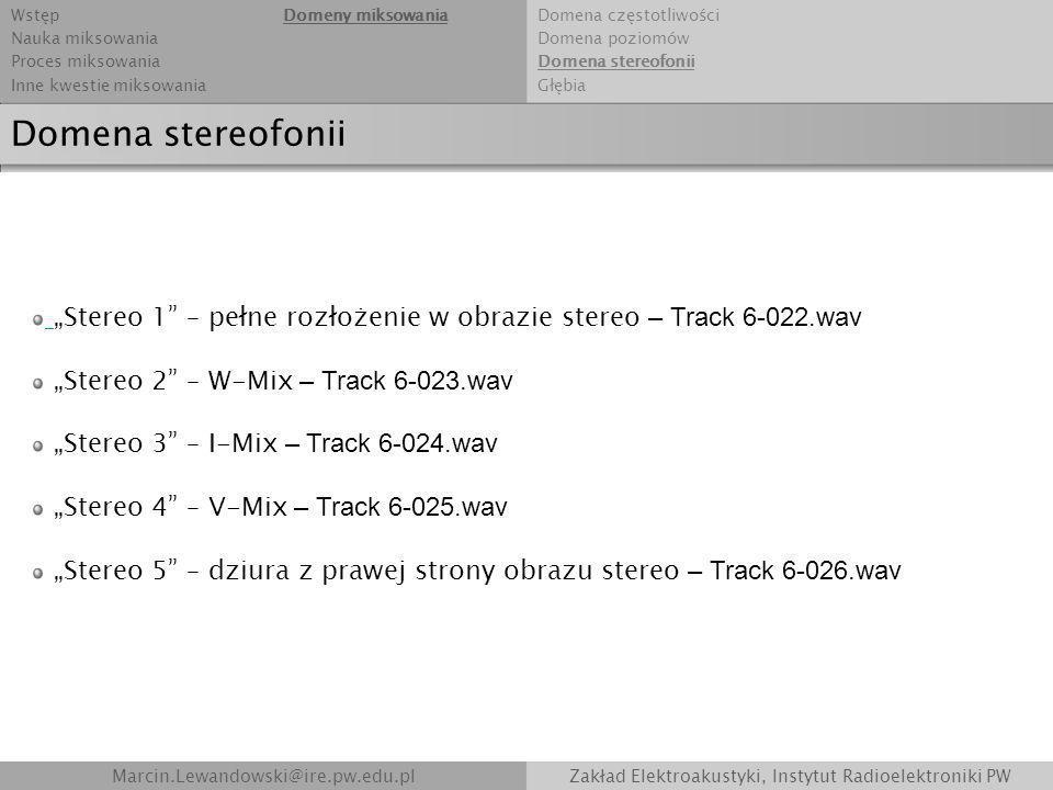 Marcin.Lewandowski@ire.pw.edu.plZakład Elektroakustyki, Instytut Radioelektroniki PW Domena stereofonii Stereo 1 – pełne rozłożenie w obrazie stereo –